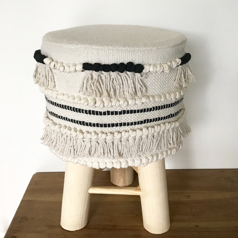 Stool Boho Cream and Black-Janggalay