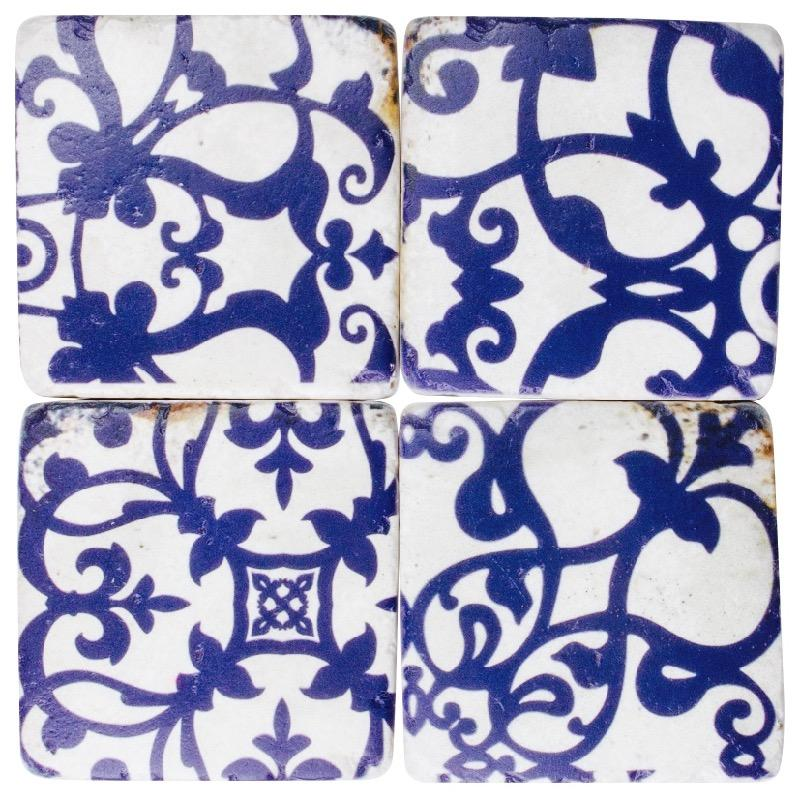 "Coaster Set Blue & White Moroccan Drink Table Coasters Set of 4 ""Blue""-Janggalay"