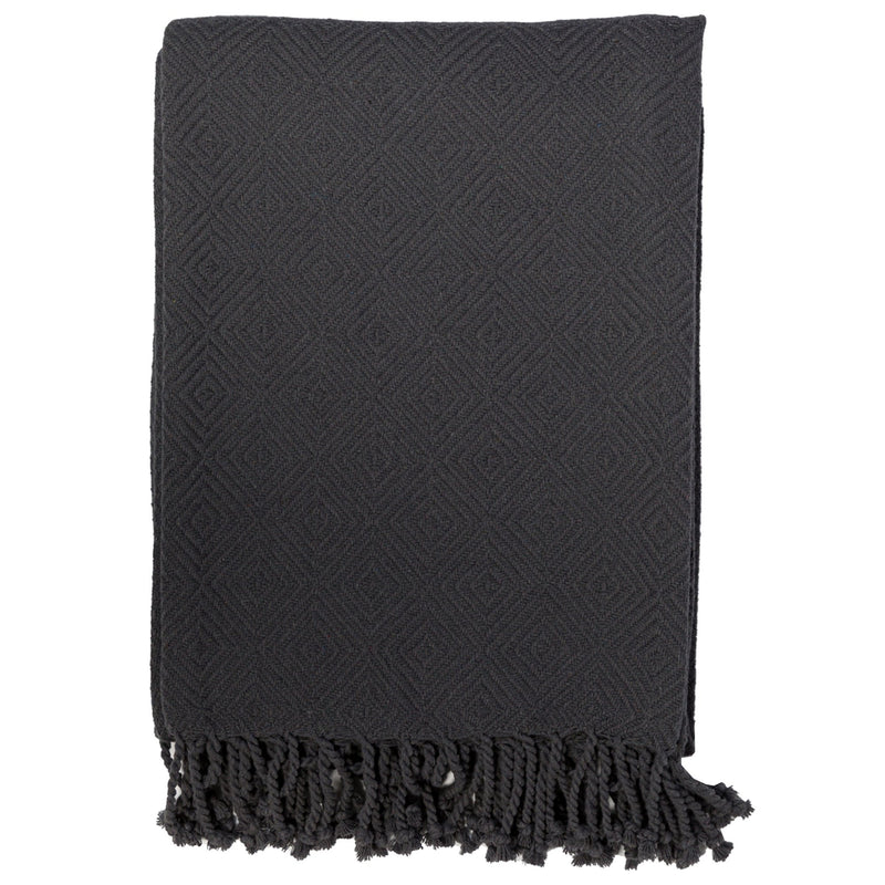 Cotton Throw with Tassels Ivory or Charcoal