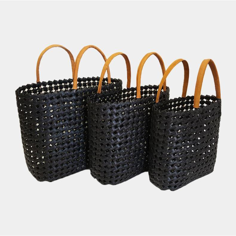 Cassie Beach Tote Bag Woven Palm with Leather Handles-Janggalay