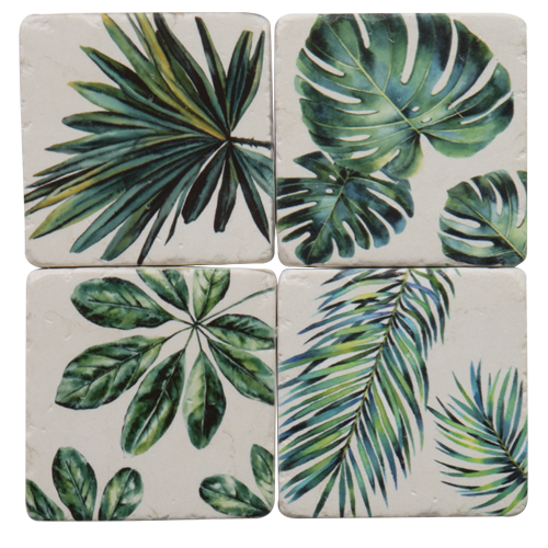 "Tropical Palm Drink Coasters Set of 4 ""Tropical""-Janggalay"