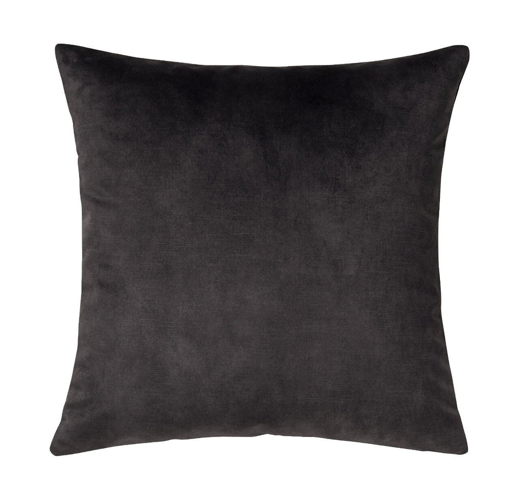 Ava Velvet Cushion Charcoal Black