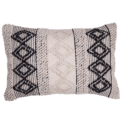 Diamond Cream & Black Boho Cushion Embroided Rectangle-Janggalay