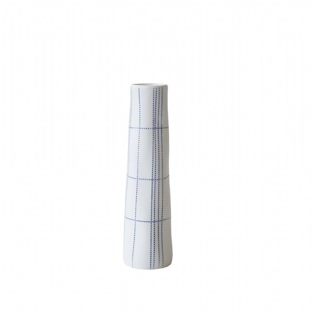 Voza Ceramic Vase White and Blue-Janggalay