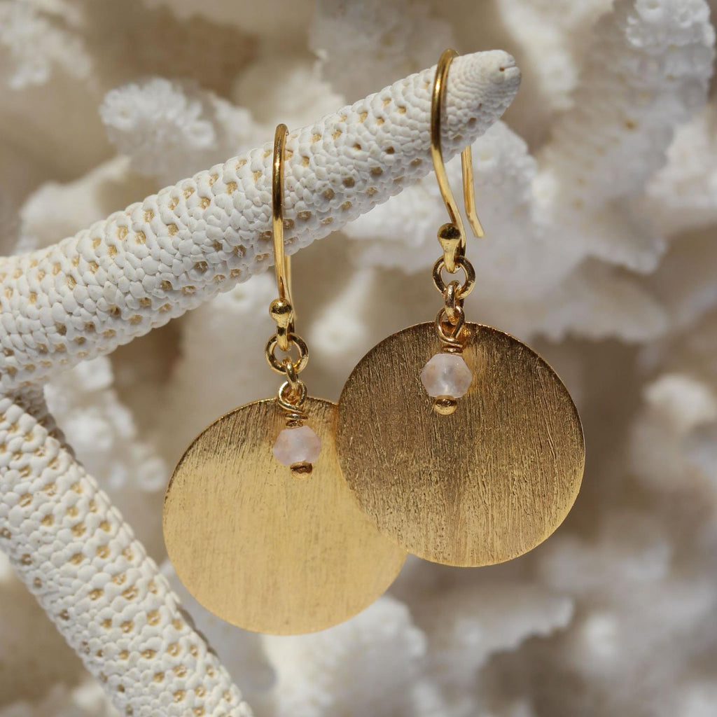 Brushed Disc Drop Earrings - Gold or Silver-Janggalay