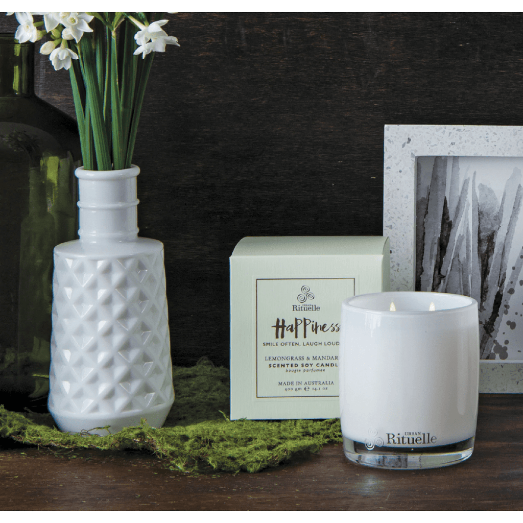 Happiness - Lemongrass and Mandarin Urban Rituelle Scented Soy Candle-Janggalay