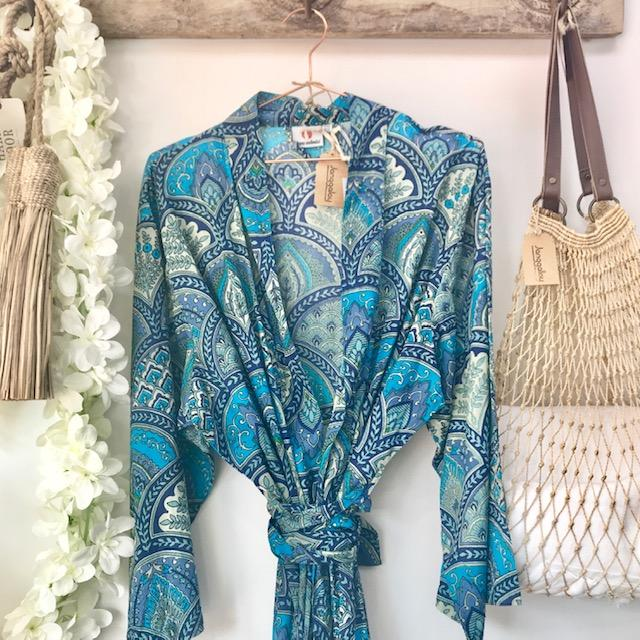 Kimono Blue Paisley Cotton Robe Dressing Gown