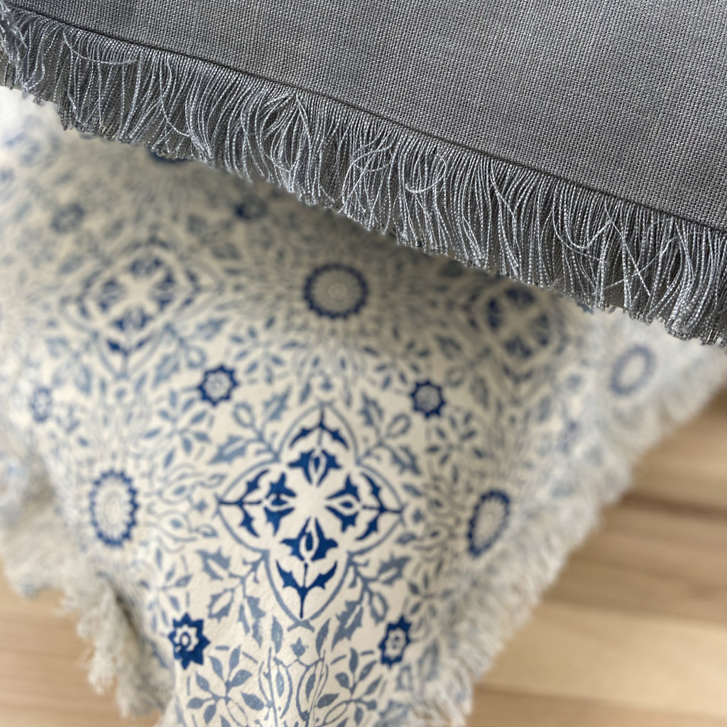 Burleigh Blue Motif Fringe Cushion 50cm