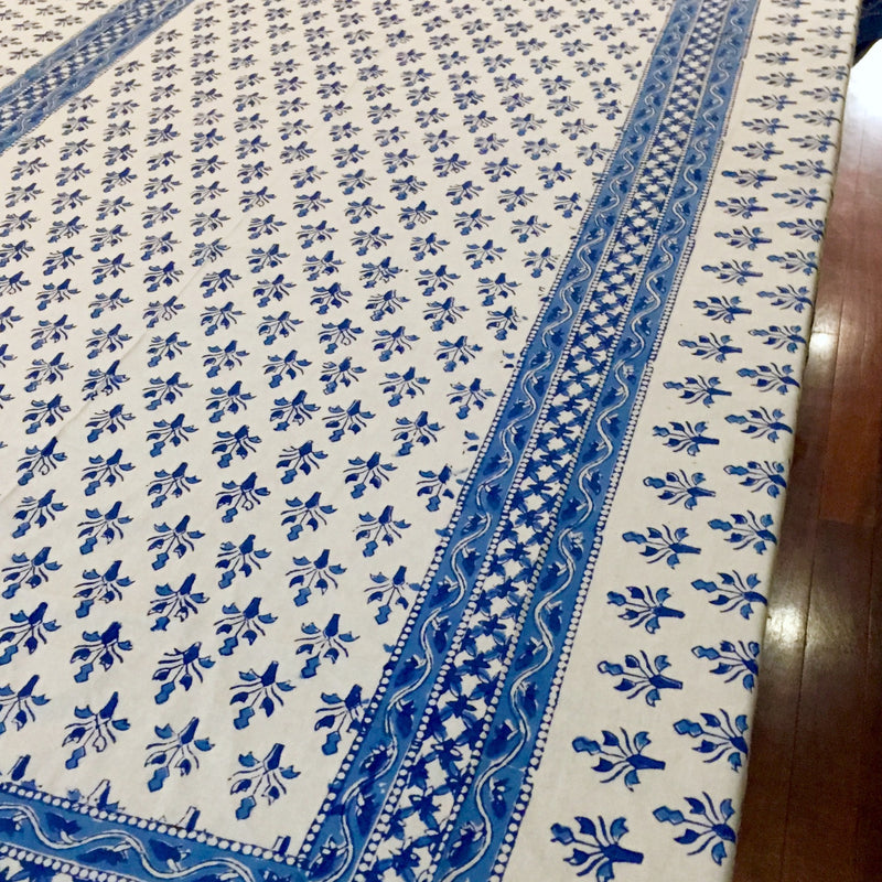 Tablecloth Blue and White Handblock Printed Cotton-Janggalay
