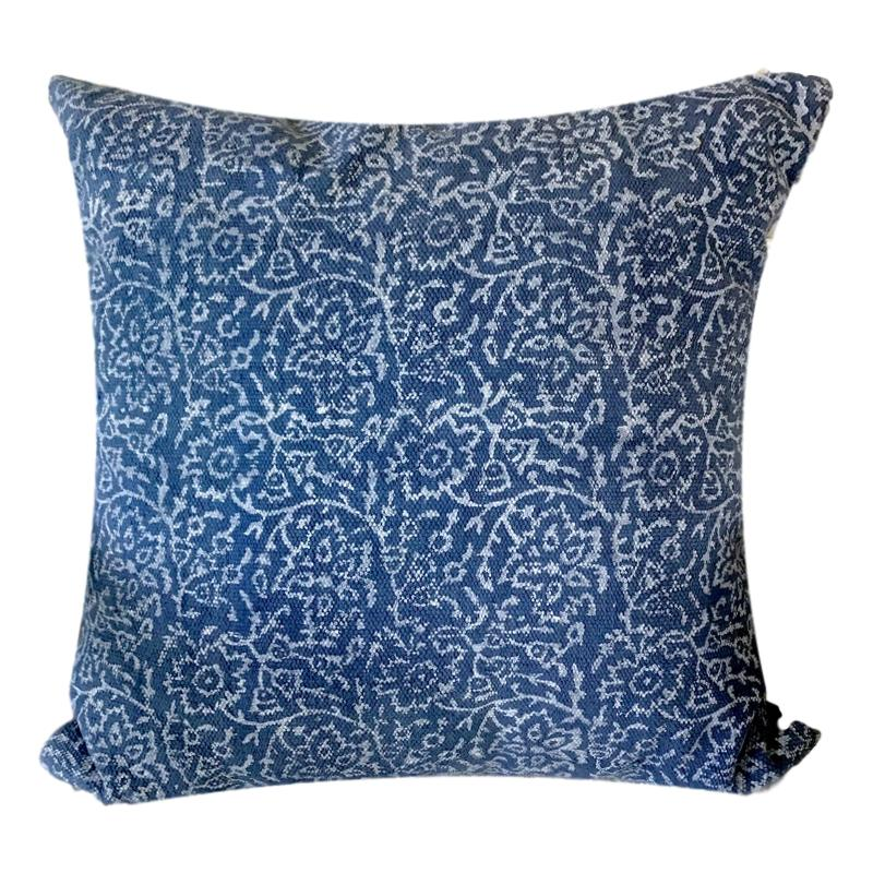 Indigo Cushion Cover Floral Design Block Print Blue-Janggalay