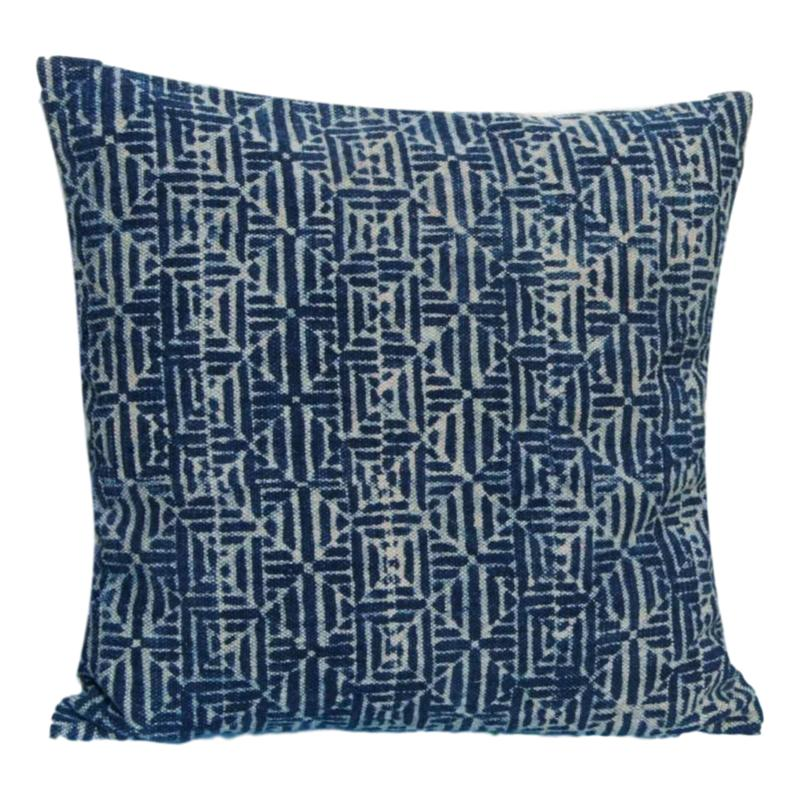 Indigo Cushion Cover Geo Design Block Print Blue-Janggalay