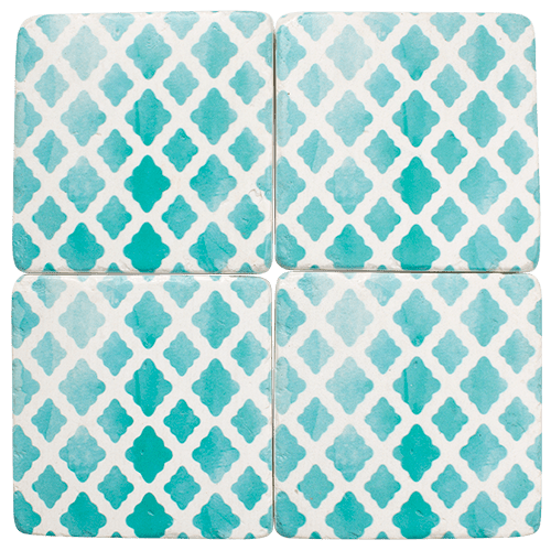 Coaster Turquoise Green and White