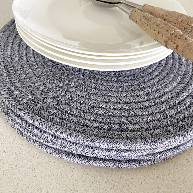 Round Cotton Placemat 38cm Blue and White Set of 4