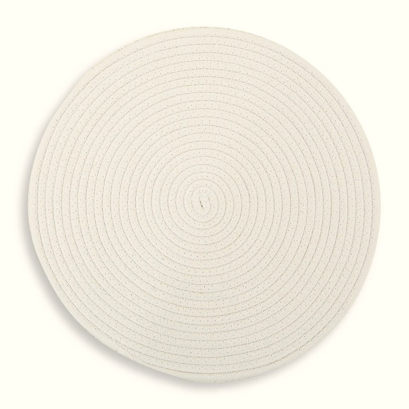 Round Cotton Placemat 38cm White Set of 4
