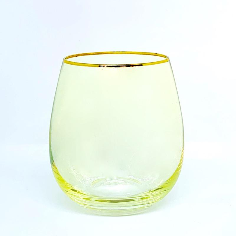 Crystal Tumbler Glass Set - Yellow