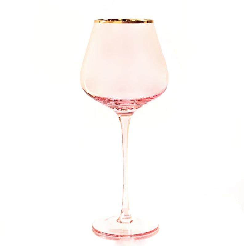 Crystal White Wine Glass Set - Pink