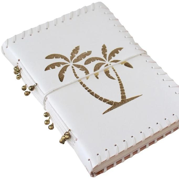 Gold Palm and White Leather Journal Handmade - Janggalay