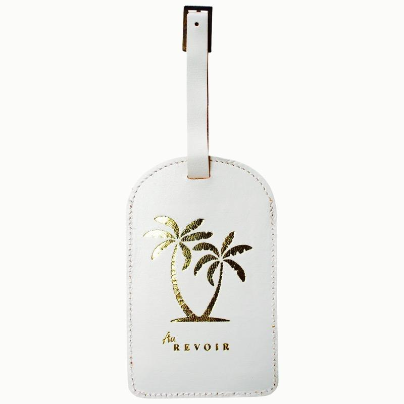 Gold Palm White Leather Luggage Tag - Janggalay