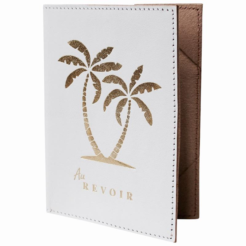 Gold Palm Tree and White Leather Passport Holder - Janggalay