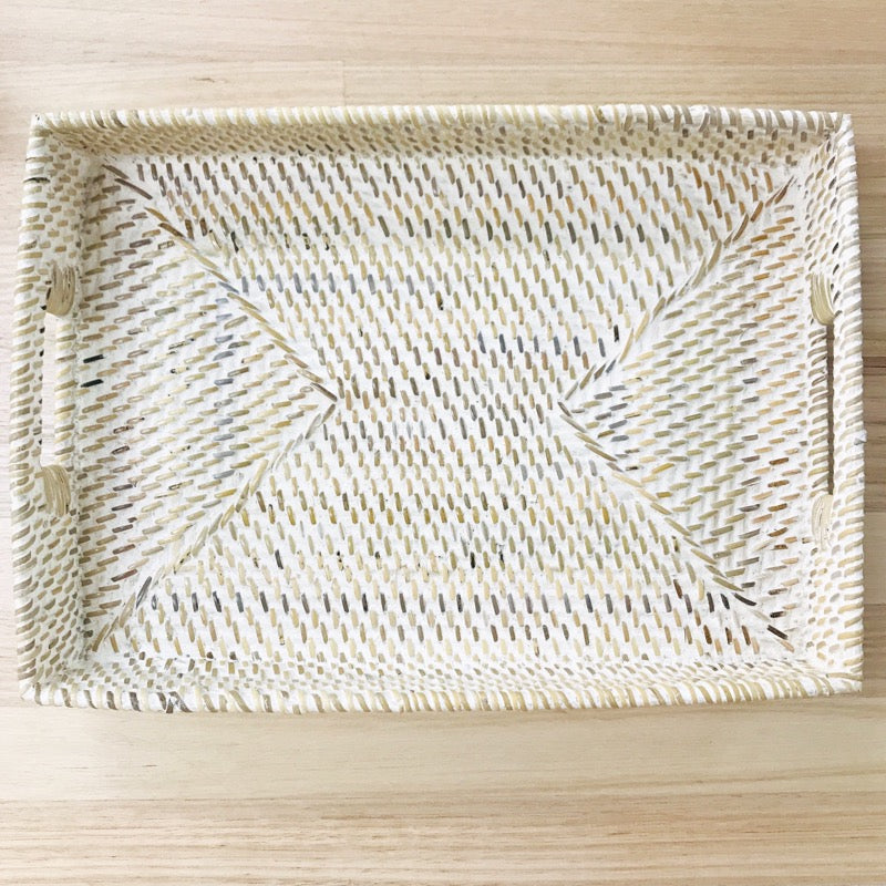 Rattan Whitewash Tray Rectangle Small