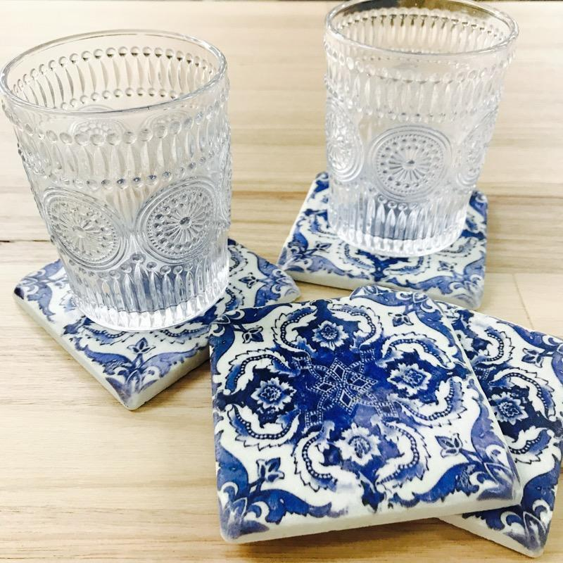 Blue Moroccan Drink Coasters Set of 4