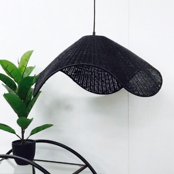 Ripple Rattan Light Shade Pendant Black or Natural