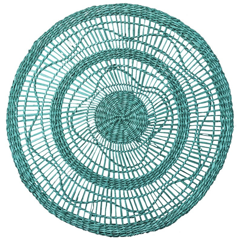 Seagrass Placemat Round Teal, Black, Natural, White Set of 4