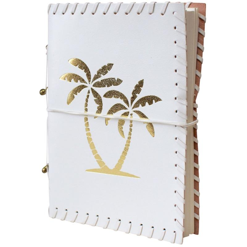 Gold Palm and White Leather Journal Handmade