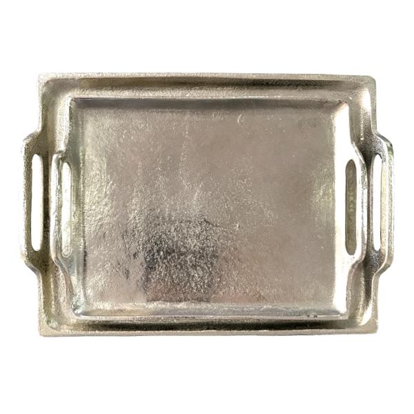 Aluminium Tray Silver Metal Rectangle-Janggalay