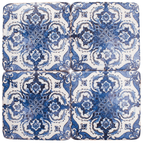 "Blue Moroccan Drink Coasters Set of 4 ""Blue"""
