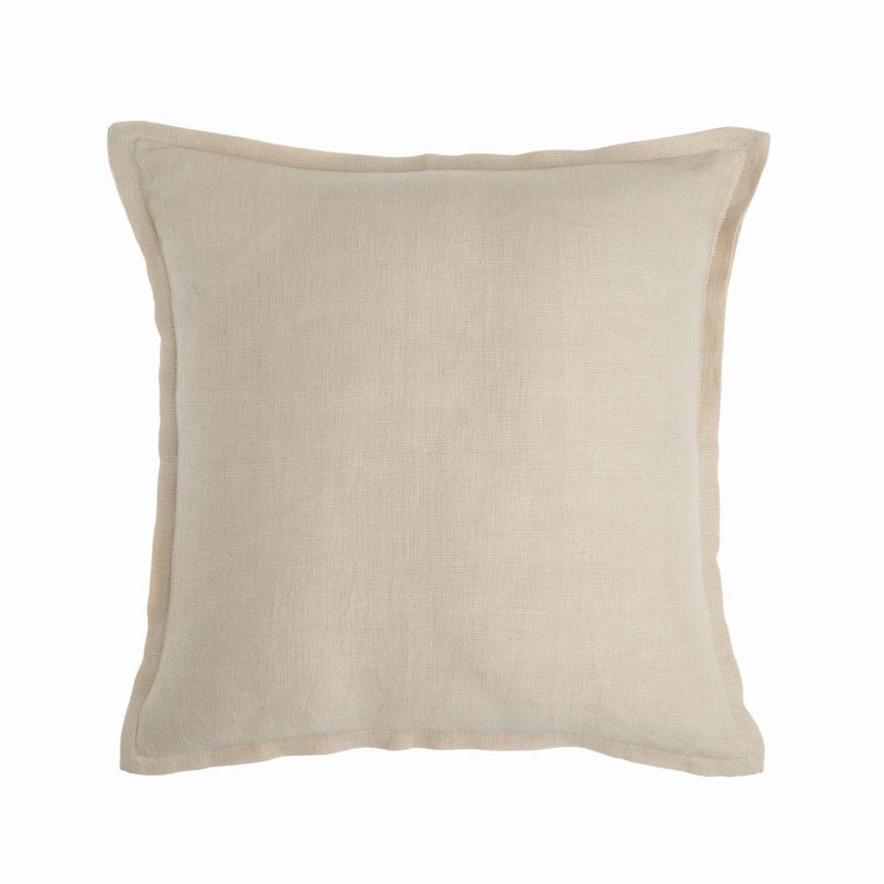 Naples Almond Linen Cushion with Feather Fill