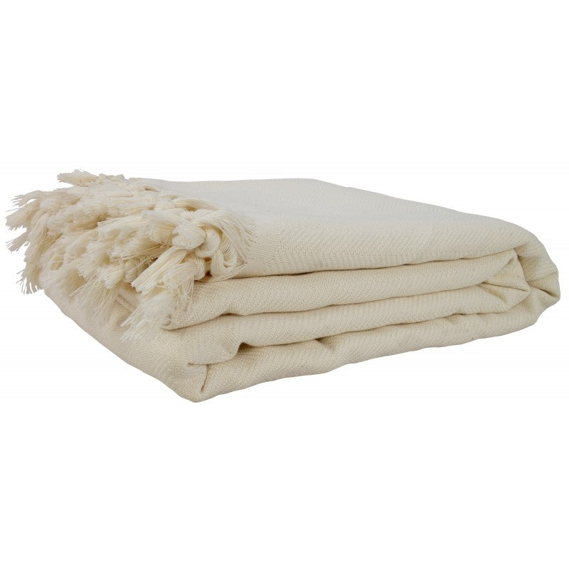 XL Turkish Blanket Throw Natural with Tassels-Janggalay