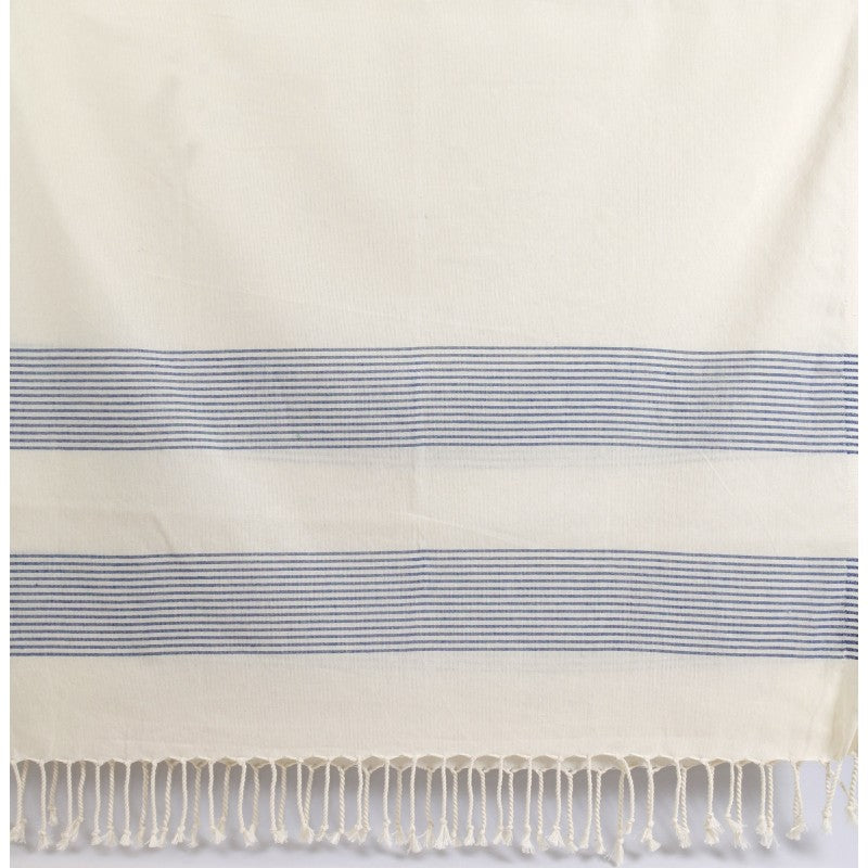 Turkish Towel Peshtemal - Cream Thin Blue Stripes-Janggalay
