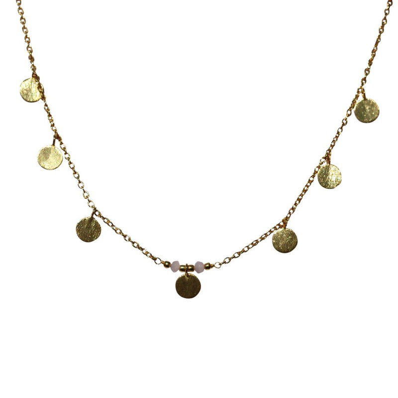Necklace Brushed Discs - Gold or Silver-Janggalay