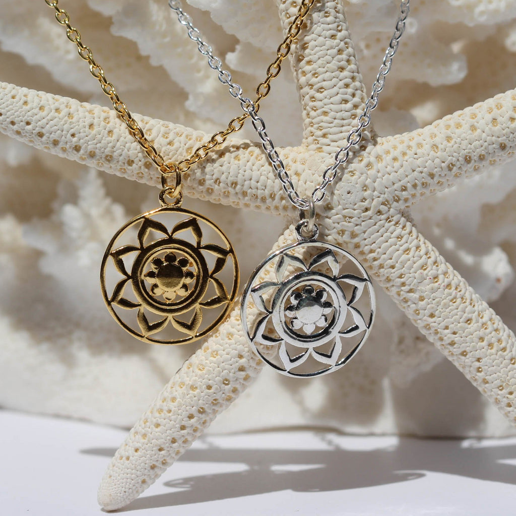 Mandala Medallion Necklace - Gold or Silver-Janggalay