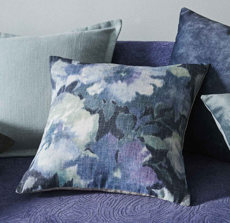 Oceanic Blue Velvet Cushion Floral