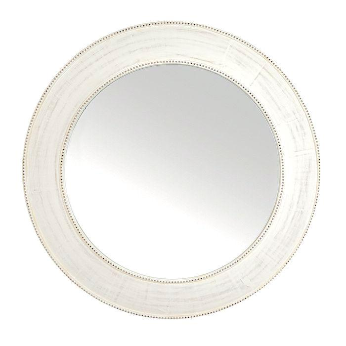Jannah Round White Wash Mirror