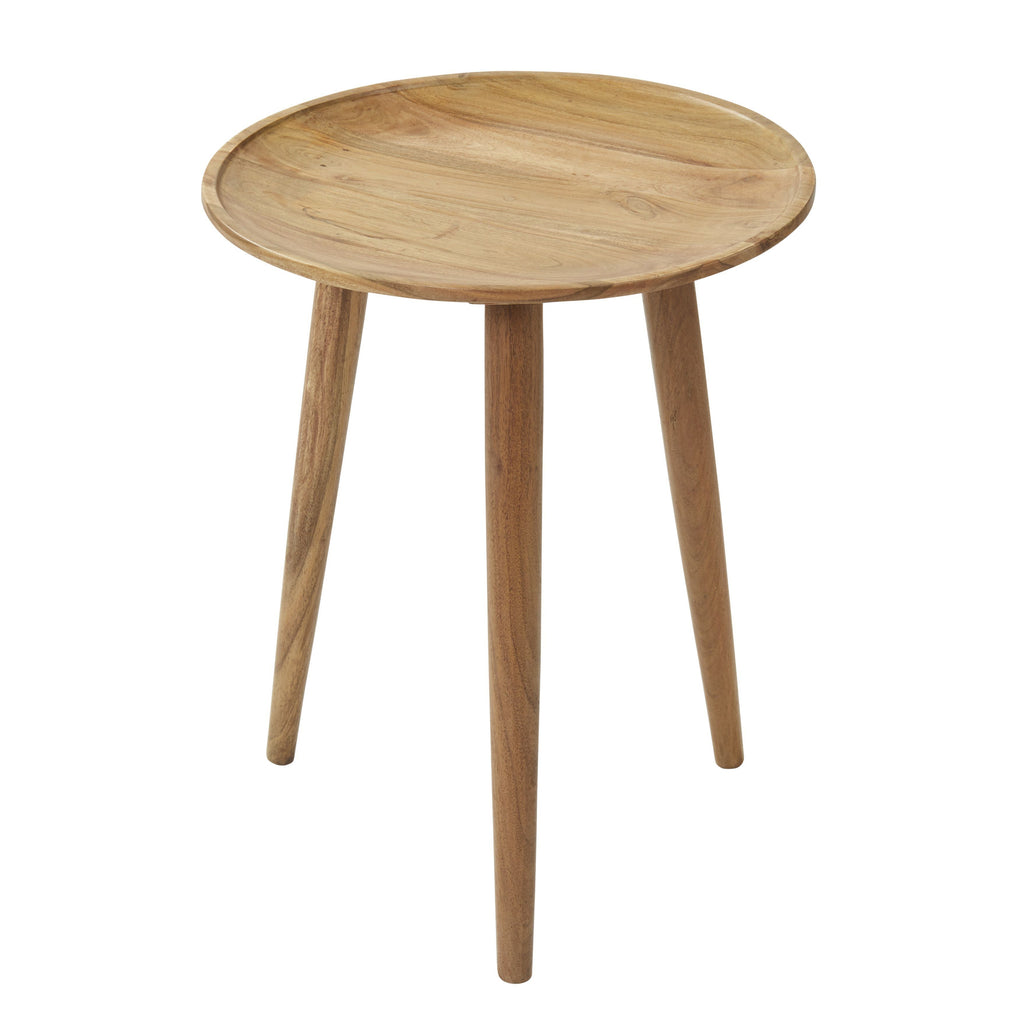 Scandi Wooden Round Side Table-Janggalay