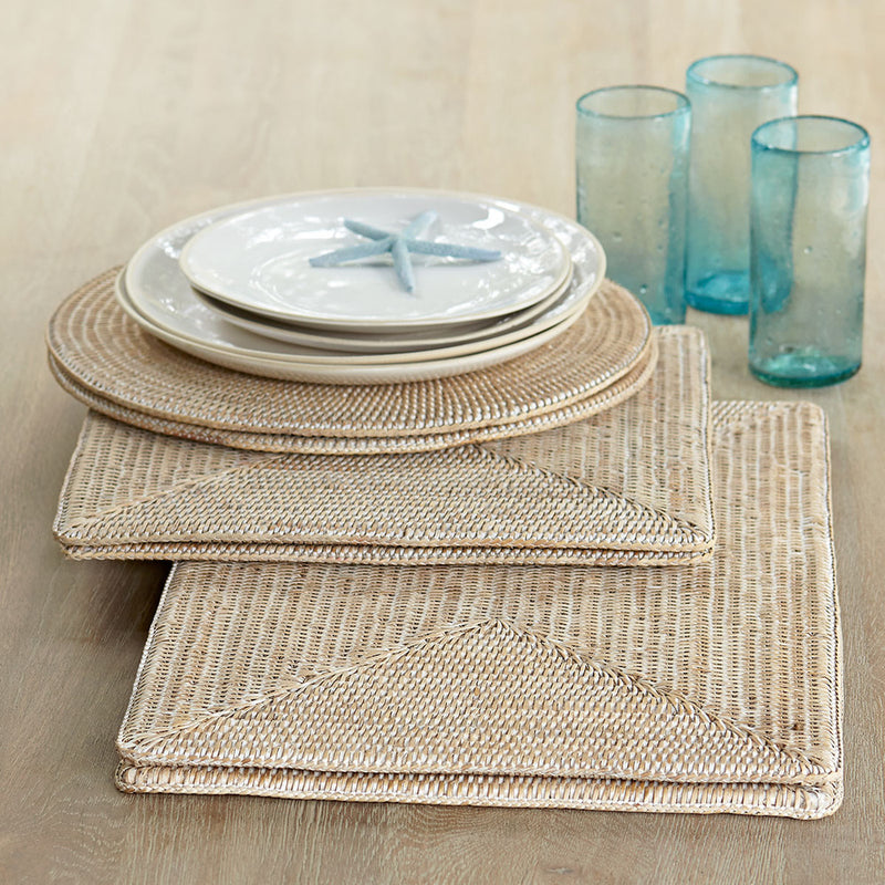 Rattan Placemat Rectangle Whitewash or Dark Brown