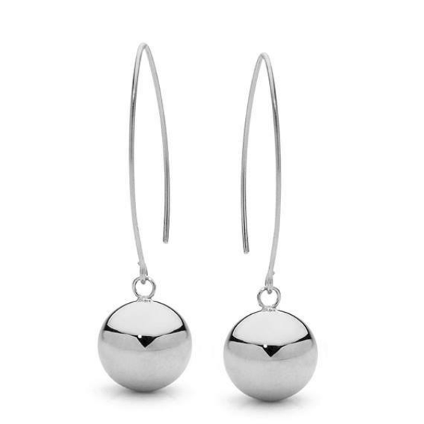 Sterling Silver Ball Drop Dangle Earrings-Janggalay
