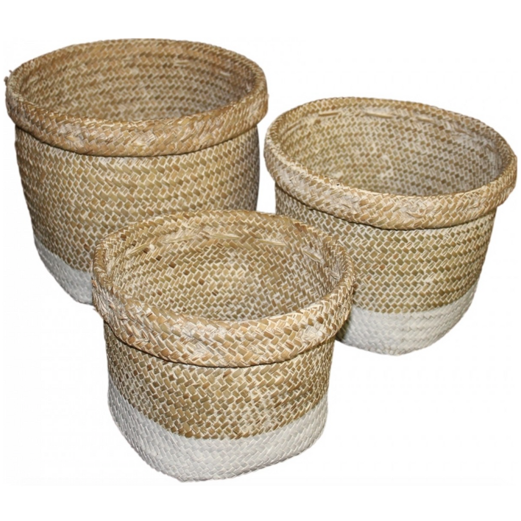 White Dipped Seagrass Baskets-Janggalay