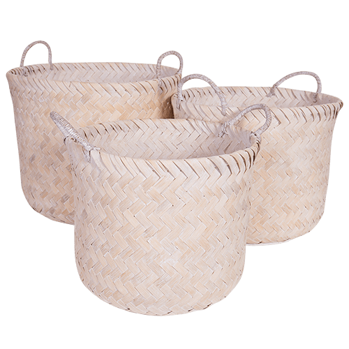 Hamptons Storage Basket Whitewash