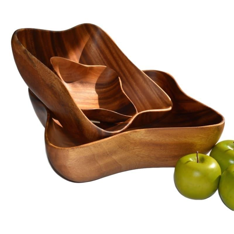 Acacia Wood Bowl Salad Fruit Entertaining Serving Solid Piece of Wood Wave Pattern-Janggalay