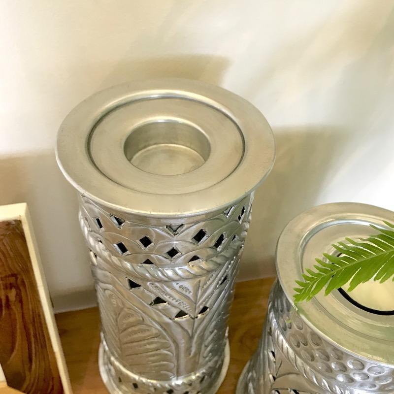 Aluminium Candle Holder Etched White Metal-Janggalay