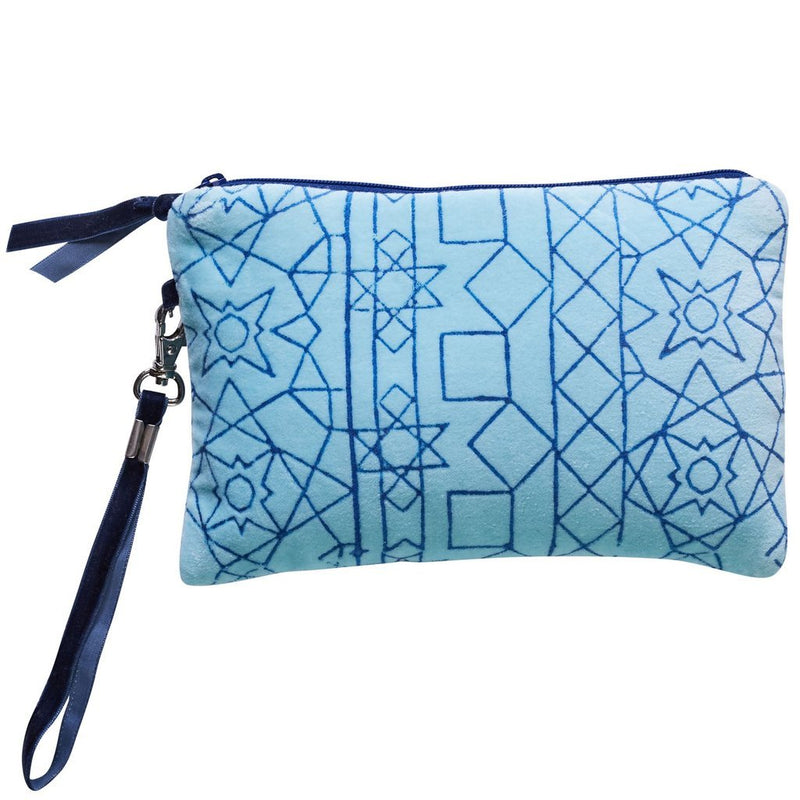 Avalon Clutch Purse Turquoise Velvet-Janggalay
