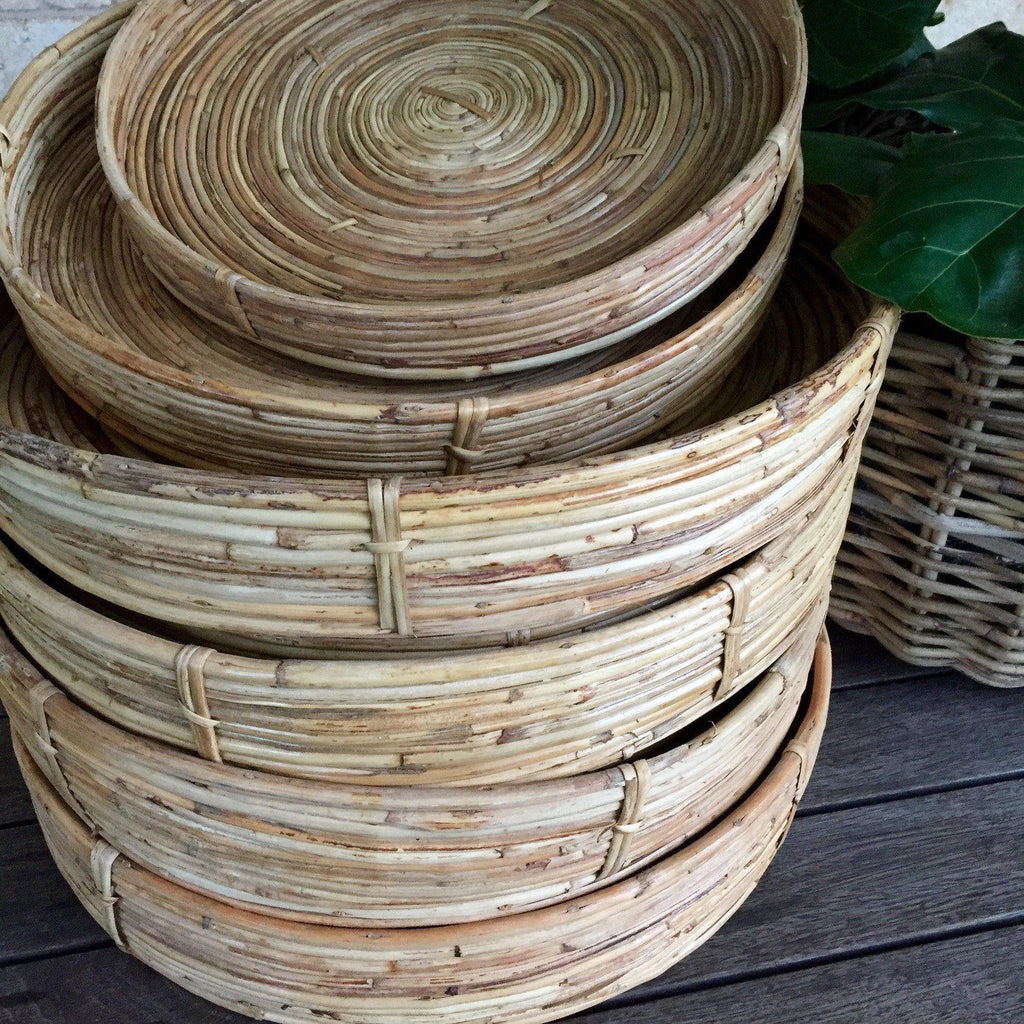 Bamboo Round Tray Natural Rattan-Janggalay