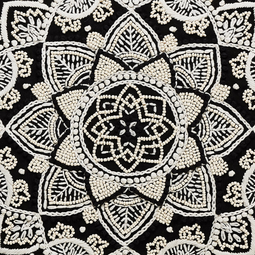 Bartley Black Mandala Cushion Embroidered-Janggalay