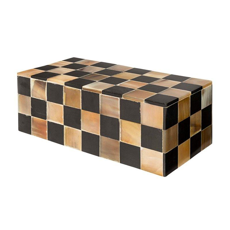 Carreaux Black & Vintage Brown Horn Box-Janggalay