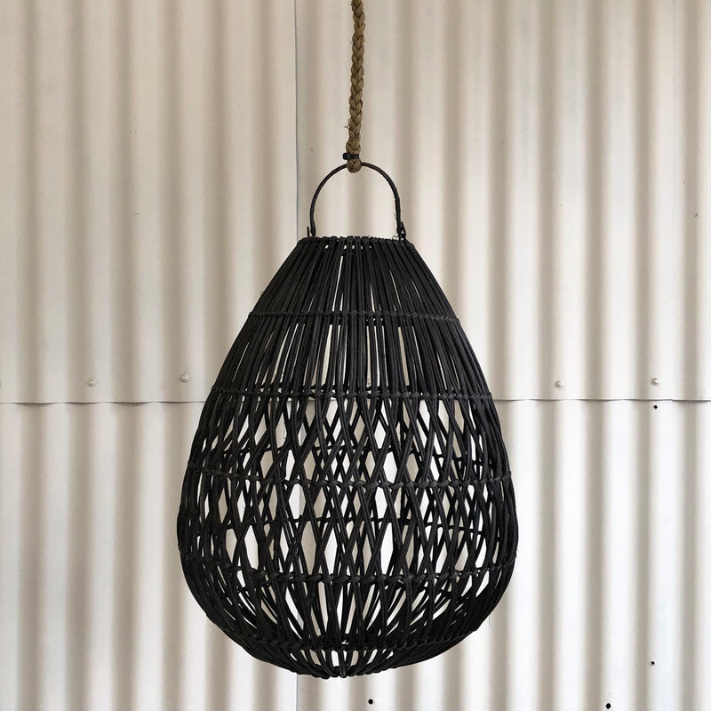 Telur Black Wicker Light Shade Pendant-Janggalay