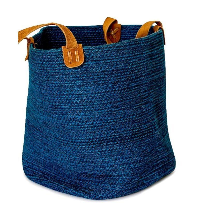 Blue Jute Basket with Suede Leather Handles Fair Trade-Janggalay